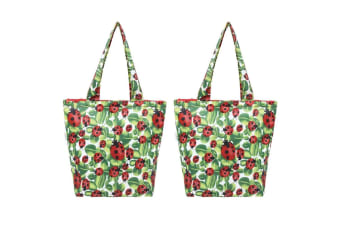 2x Sachi 40cm Insulated Thermal Cooler Shopping Bag Storage Market Tote Lady Bug