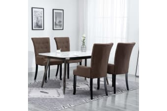 vidaXL Dining Chair with Armrests 4 pcs Brown Fabric