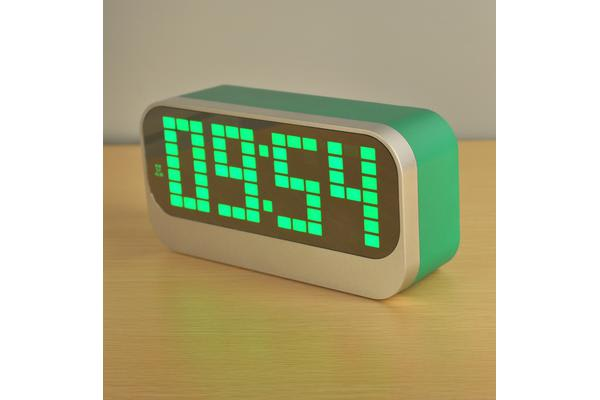 led digital alarm clock portable battery powered large display green. Black Bedroom Furniture Sets. Home Design Ideas