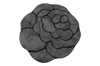 Non-Slip Striped Flower Shaped Area Mat/Rug (3 Colours) (Grey/Black)