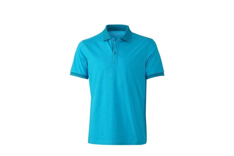 James and Nicholson Mens Heather Polo (Turquoise Melange/Turquoise) (XL)