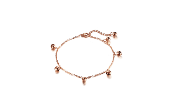 Rose Gold Anklets Bracelets Stainless Steel Bell Ankles For Women - Rose Gold