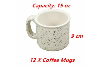 12 x Campfire Coffee Mugs White with Blue Speckle Ceramic Travel Coffee Camping