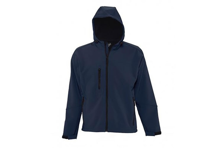 SOLS Mens Replay Hooded Soft Shell Jacket (Breathable  Windproof And Water Resistant) (French Navy) (XXL)