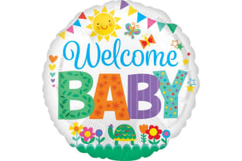 Anagram 18in Circular Welcome Baby Foil Balloon (Multicoloured)