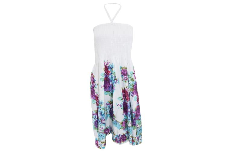 Ladies/Womens Floral And Paisley Printed 3 In 1 Summer Dress/Skirt (Purple) (Small)