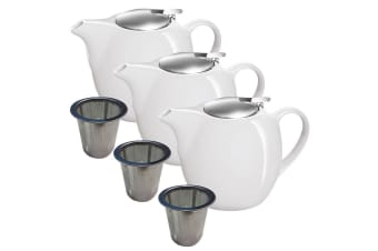 3pc Avanti Camelia White Ceramic Teapot Stainless Steel Infuser Dishwasher 750ml