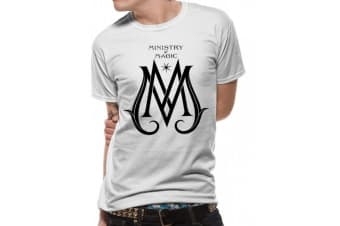 Crimes Of Grindelwald Unisex Adults Ministry Of Magic Logo Design T-Shirt (White) (XL)