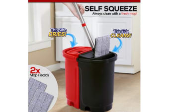 Self Squeeze Mop & Bucket Set with Extra Mop Head Bonus