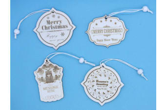 12x Wooden Christmas Xmas Present Gift Tags Tree Ornament Craft Label Decoration