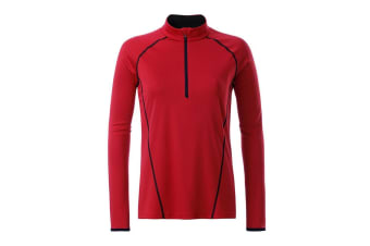 James and Nicholson Womens/Ladies Long Sleeve Sports Top (Red/Black) (M)