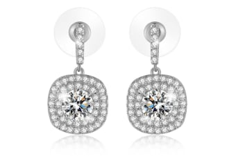 Dazzle Earrings-White Gold/Clear