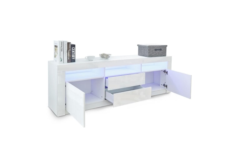 180cm Modern Wooden TV Unit Side Cabinet RGB LED High Gloss Front-White