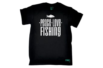 Drowning Worms Fishing Tee - Peace Love - (XX-Large Black Mens T Shirt)