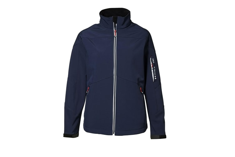 ID Womens/Ladies Full Zip Contrast Regular Fitting Soft Shell Jacket (Navy) (3XL)