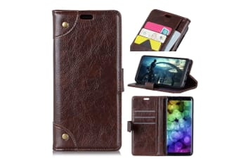 For iPhone XS MAX Case Copper Buckle Flip Leather Wallet Cover Slots Coffee