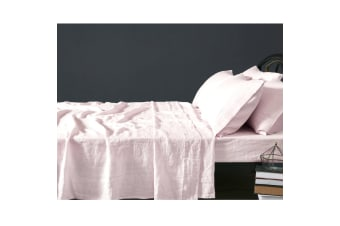 100% Linen Blush Sheet Set SUPER KING