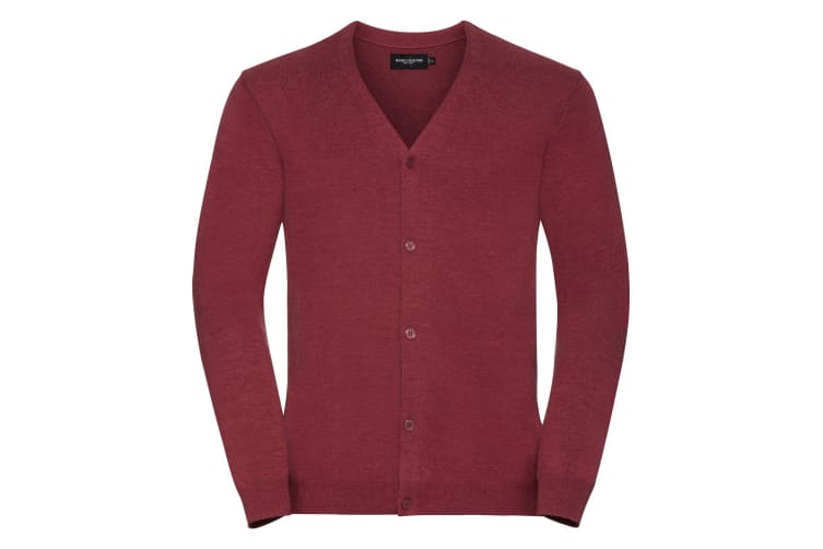 Russell Mens Cotton Acrylic V Neck Cardigan (Cranberry Marl) (L)
