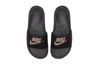 Nike Women's Benassi Jdi Sandals (Black/Rose Gold, Size 6 US)
