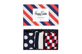 Happy Socks Classic Stripe Gift Box (Blue/Red/White, Size 41-46)