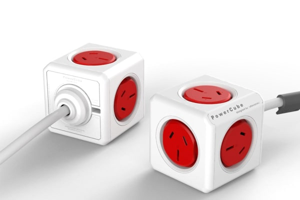 Allocacoc PowerCube 1.5m with 5 Power Outlets - Red (5300/AUEXPCRED)