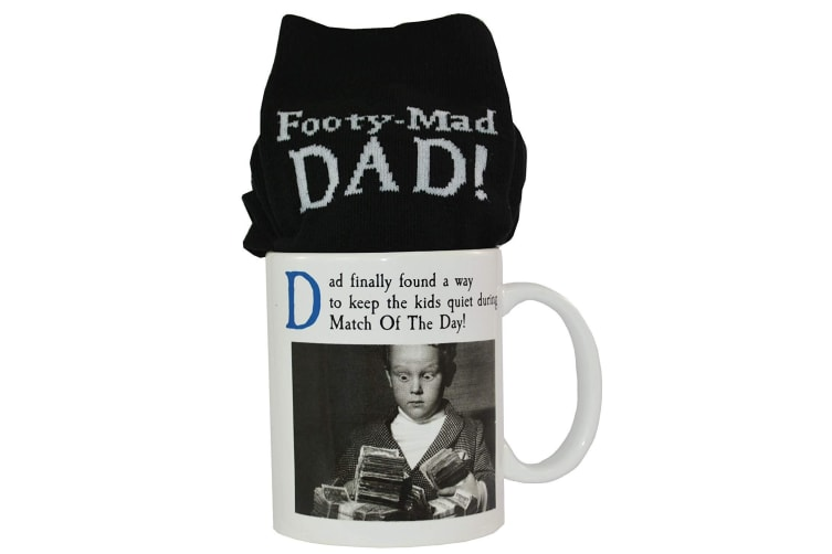On The Ceiling Emotional Rescue Official Footy Mad Dad Mug & Sock Gift Set (Black/White) (One Size)