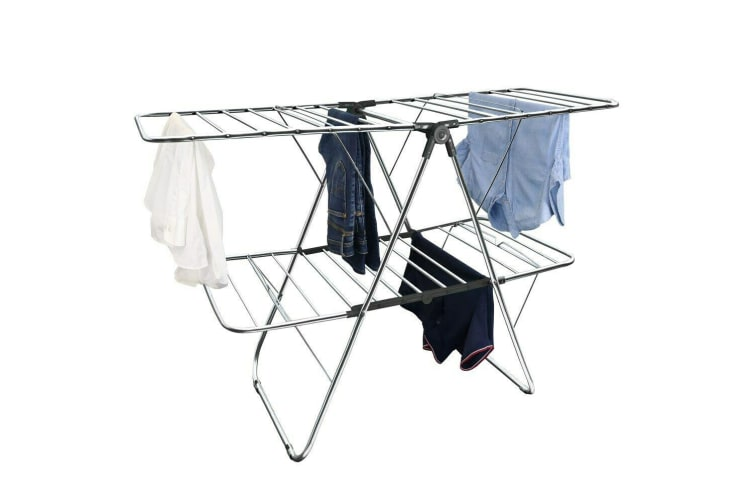 32 Rails Foldable Clothes Airer 2 Tier Dry Line Rack Laundry Hanger Wash Winged