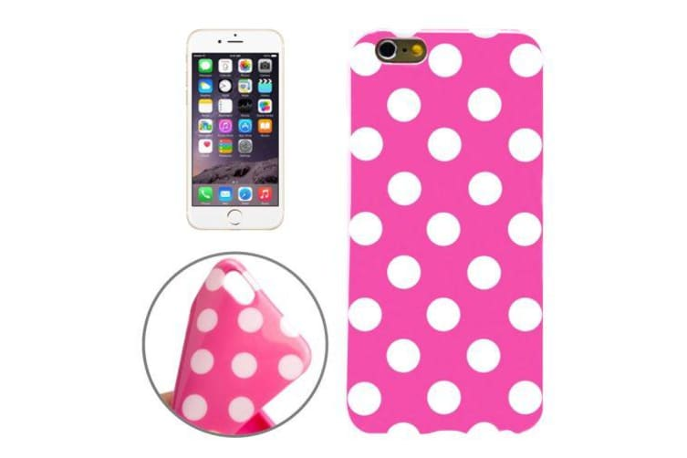 For iPhone 6S PLUS 6 PLUS Case  Polka Dot Durable Cover Magenta  White