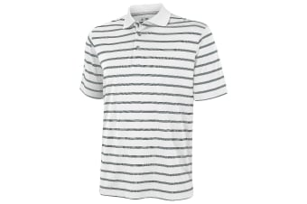 Adidas Golf Mens Textured Stripe Polo Shirt (White/Black) (S)