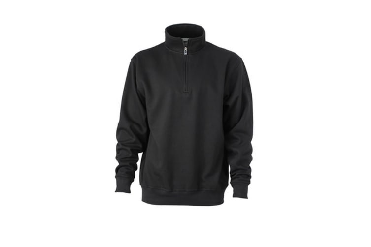 James and Nicholson Unisex Workwear Half Zip Sweatshirt (Black) (XXL)