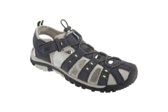 PDQ Mens Toggle & Touch Fastening Synthetic Nubuck Trail Sandals (Navy Blue/Lime)