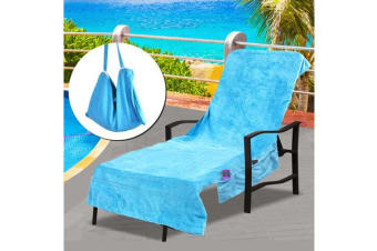 Pocket Bag Beach Towel Chair Cover BLUE
