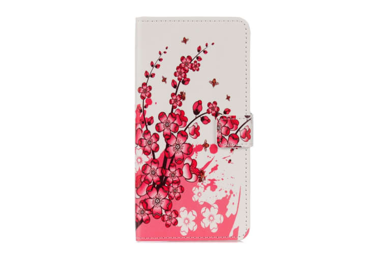 For iPhone XS X Wallet Case Plum Blossom Styled Quality Protective Leather Cover