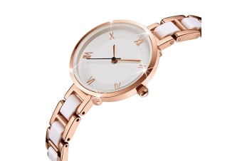 Bullion Gold Women's Geometic Mineral Glass Watch White-Rose Gold/White