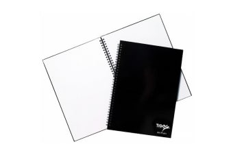 Tiger Stationery 60 Sheet Twin Wire Ring Bound Notebook (Black) (A5)