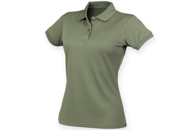 Henbury Womens/Ladies Coolplus® Fitted Polo Shirt (Olive) (3XL)