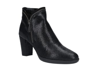 The Flexx Womens Briseide Zip Up Heeled Ankle Boot (Black Bolar)
