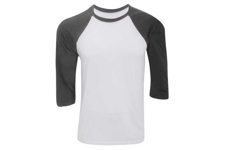Canvas Mens 3/4 Sleeve Baseball T-Shirt (White/Dark Grey) (S)