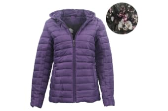 Women's Hooded Puffer Jacket Quilted Padded Puffy Amethyst Coat w Removable Hood - Purple