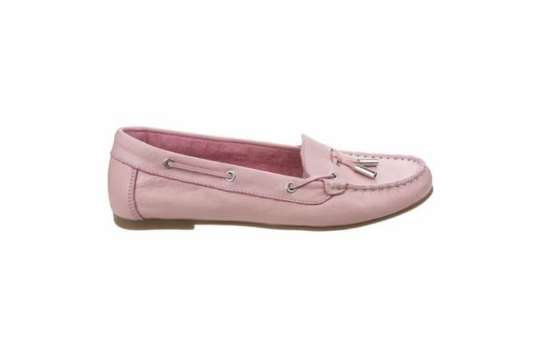 Riva Womens/Ladies Ostuni Slip On Leather Moccasins (Pink) (7 UK)