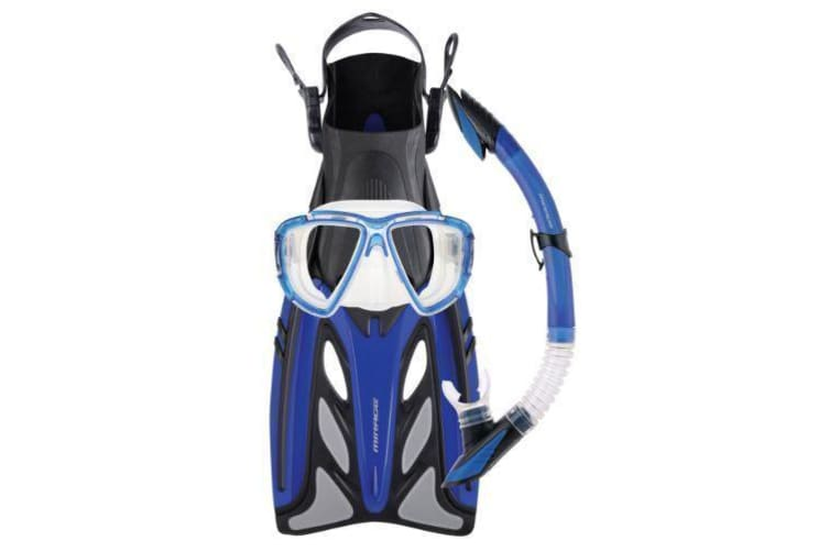 Mirage Crystal Adult Silicone Mask, Snorkel & Fins Set  - Blue (Small/Medium)