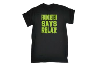 123T Funny Tee - Frankenstein Says Relax - (Small Black Mens T Shirt)
