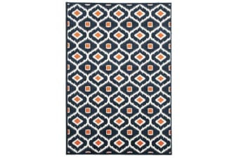 Indoor Outdoor Bianca Rug Navy Orange 290x200cm