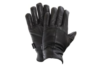 FLOSO Mens Thinsulate Lined Genuine Leather Gloves (3M 40g) (Black)