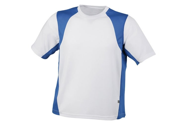 James and Nicholson Mens Sublimation Running Top (White/Royal Blue) (XXL)