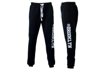 Men's Skinny Track Pants w Fleece Slim Cuff Trackies Slacks Tracksuit - Brooklyn -Black