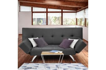 Brooklyn 3 Seater Faux Leather Sofa Bed Lounge - Grey