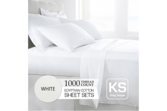 King Single Size White 1000TC Egyptian Cotton Sheet Set