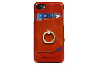 For iPhone 8 7 Case Fierre Shann Elegant Ring Holder Genuine Leather Cover Red