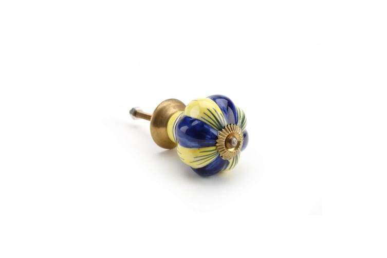 CGB Giftware Yellow/Blue Petal Ceramic Drawer Handle (Yellow/Blue) (One Size)